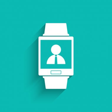Smartwatch wearable technology symbol with icon for person contacts application