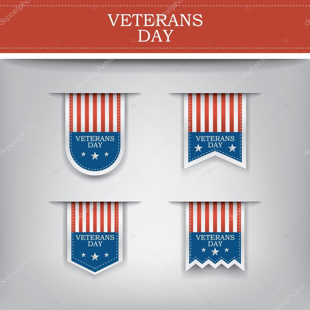 Veterans day ribbon elements for websites.