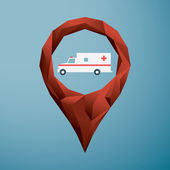 Photo Emergency symbol in low poly location pin. Ambulance icon for navigation.