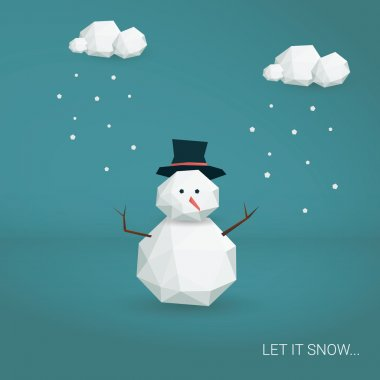Christmas card vector template. Low poly 3d snowman and clouds snowing. Cute adorable cartoon illustration.