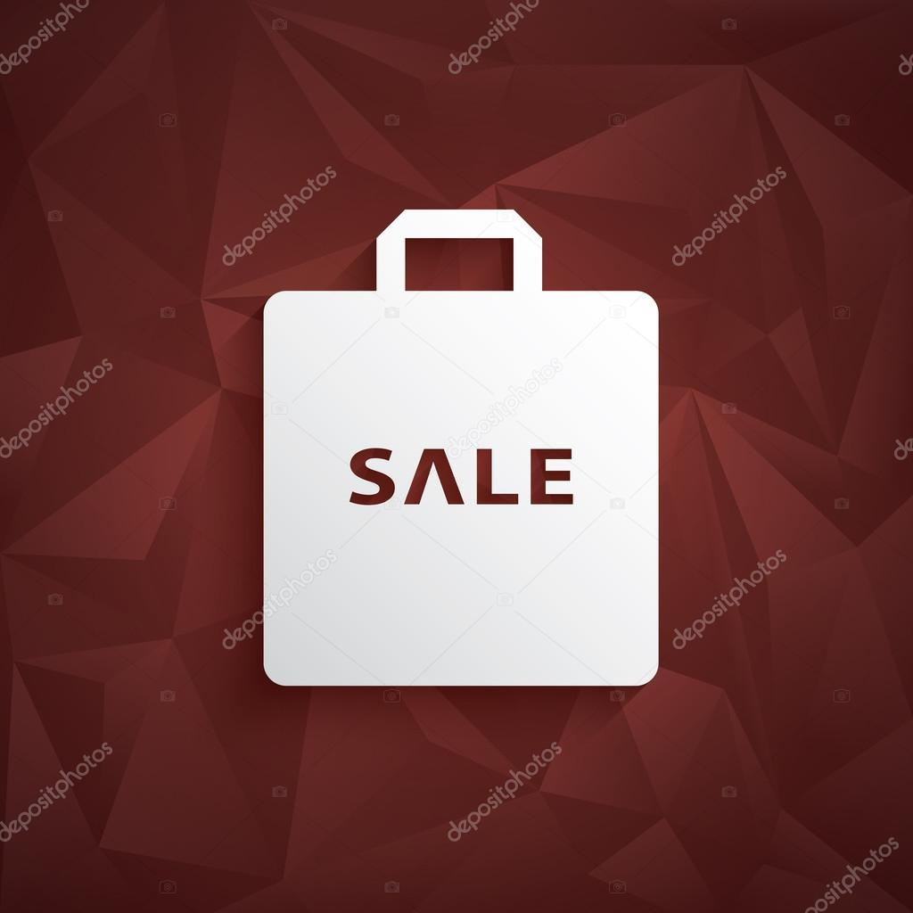 0801cff6a2a stock illustration. Sale poster template. Low poly vector background. 3d  shopping bag icon. — Stock