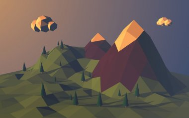 Low poly mountains landscape vector background. Polygonal shapes peaks with snow on top and trees around. Sunset wallpaper.