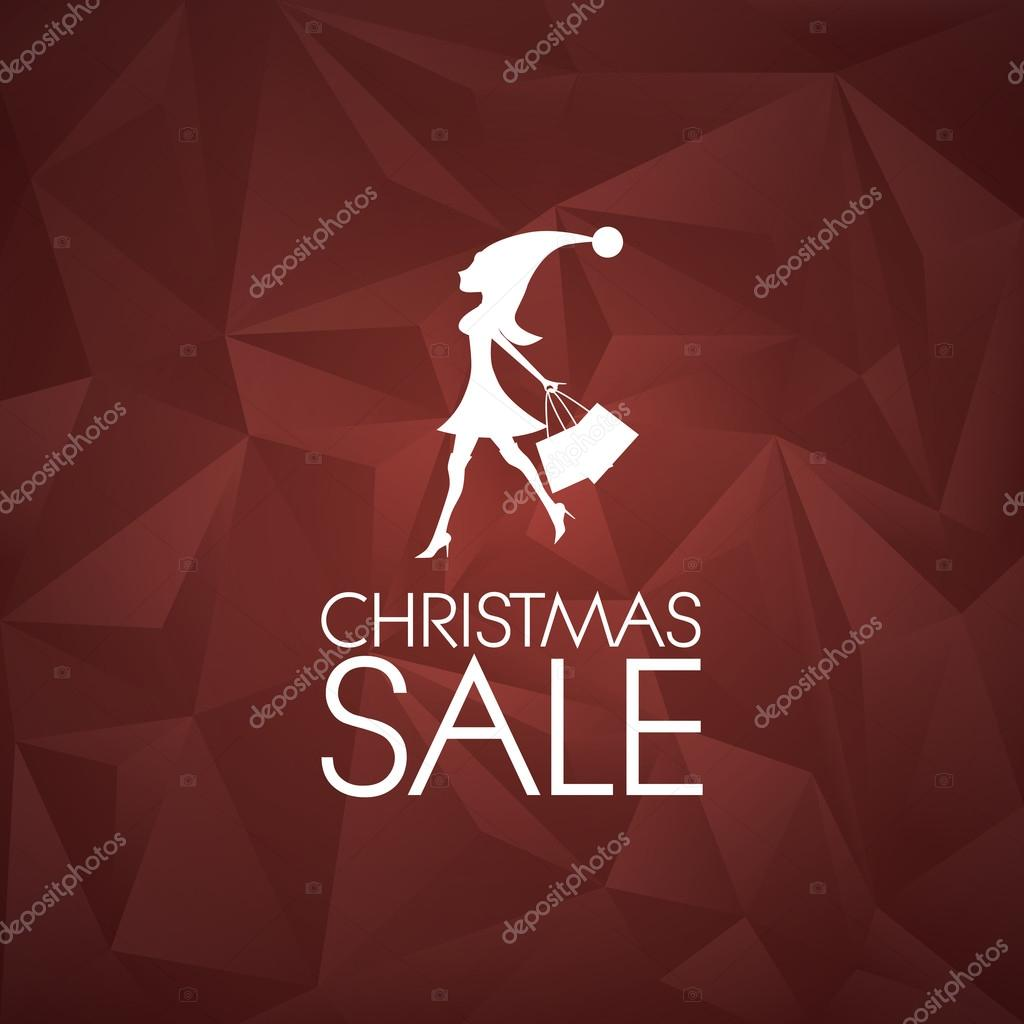Low poly christmas background. Holiday sales poster. Woman in Santa dress with shopping bags. Promotional advertising banner.