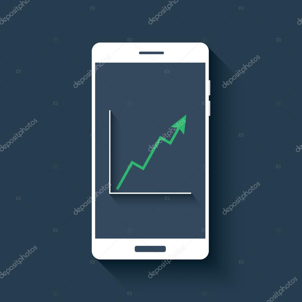 Mobile Chart Infographics Element Smartphone With Graphs Business