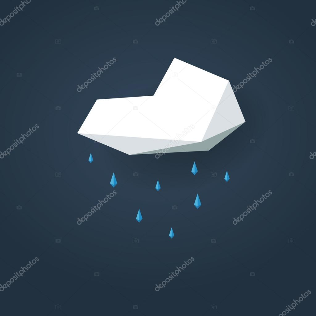 Low poly weather icon. Forecast symbol in modern 3d design. Rain or showers sign.