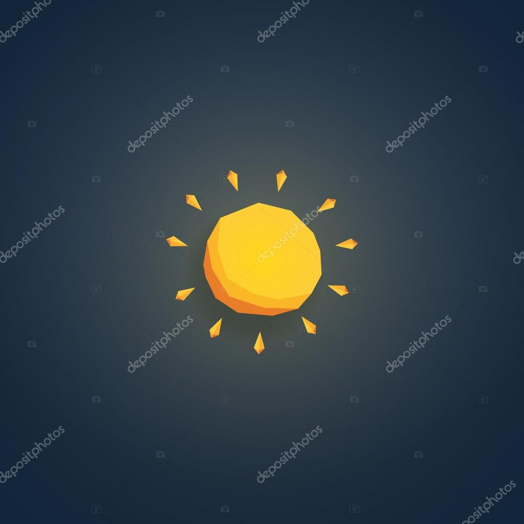 Low poly weather icon. Forecast symbol in modern 3d design. Hot sunny summer sign.