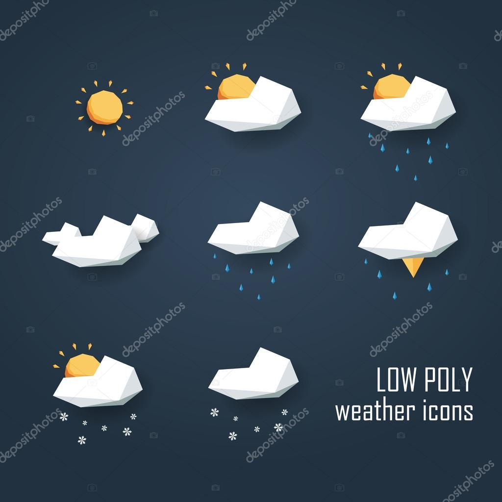 Low poly weather icons set. Collection of 3d polygonal symbols for forecast.