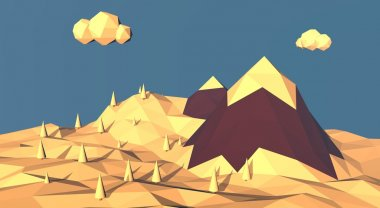 Low poly mountain winter landscape. Snow on top of hills and forests around. 3d render illustration with polygons.
