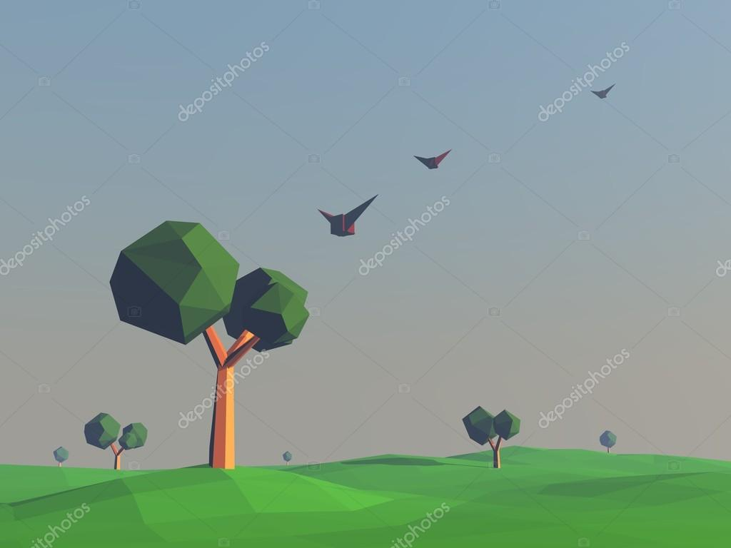Low poly landscape with fields and trees. Nature scene at sunset, flying birds. 3d render illustration.