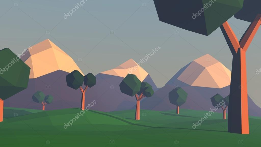 Low poly landscape with mountains and trees. Nature scene at sunset. 3d render illustration.