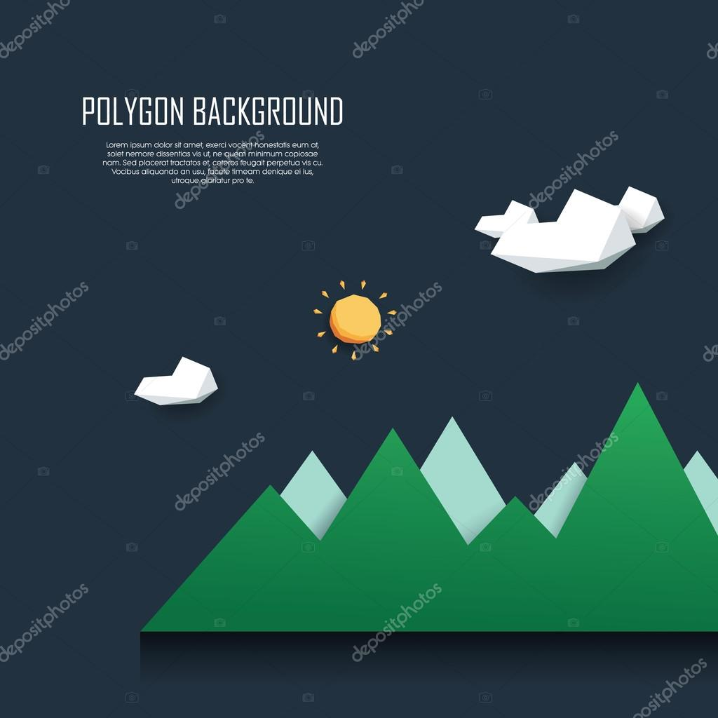 Low poly mountain landscape. 3d polygonal nature scene with clouds and sun. Symbol of outdoor adventure