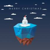 Fotografia Christmas card template with polar bear in low poly design. Cute adorable animal cartoon for holiday.