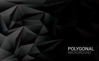 Low poly black background. 3d polygonal vector wallpaper with space for text.