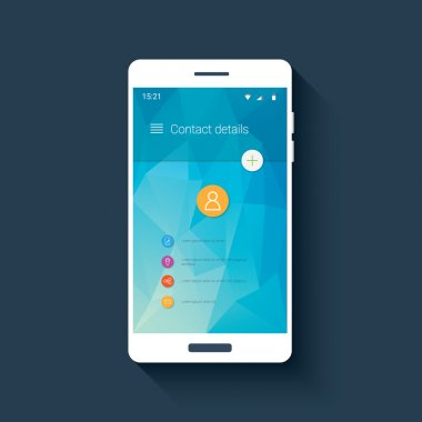 Mobile ui template with contact menu icon set on colorful low poly background. White line icons for smartphone user interface application.