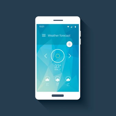 Weather forecast ui for smartphone app. Mobile user interface template with line icons on low poly background.