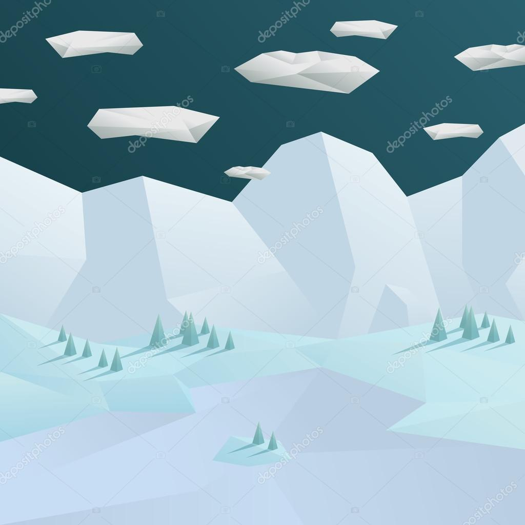 Low poly winter landscape background. 3d polygonal mountains and trees scene.