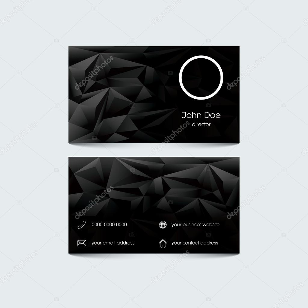 Elegant business card template. Low poly black background. Set of ...