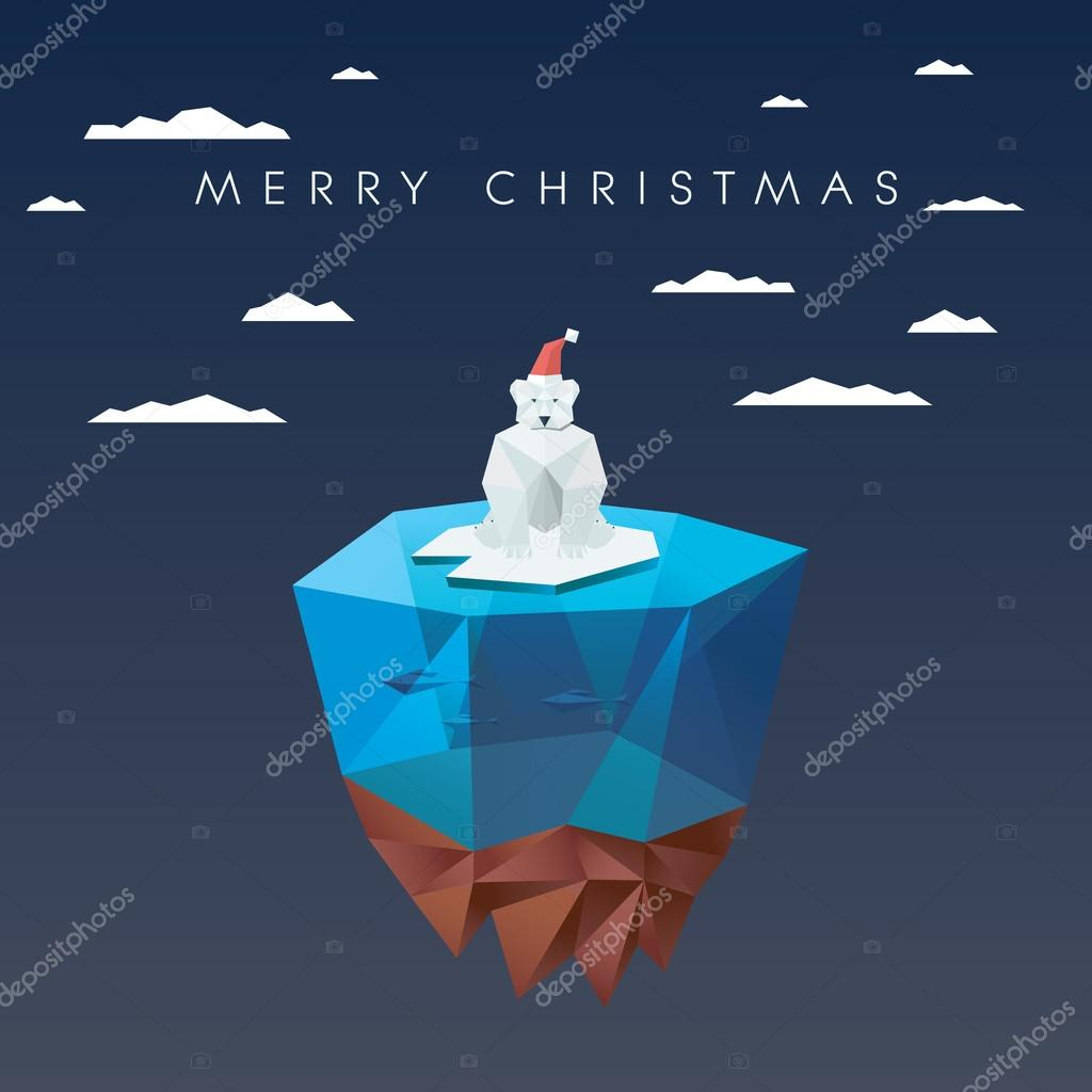 christmas card template with polar bear in low poly design cute