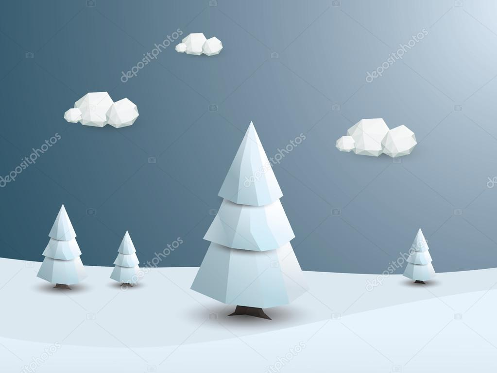 Low poly winter landscape vector background. 3d Polygonal white trees with snow. Christmas wallpaper
