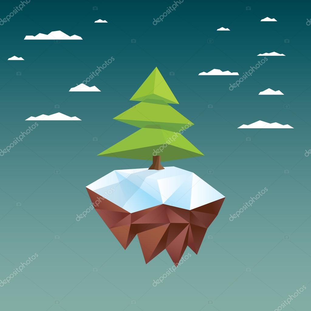 Christmas Card Template With Xmas Tree On Floating Island Low Poly