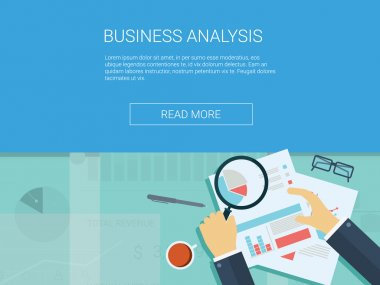 Business analysis background with magnifying glass, graphs and charts. Analytics report vector infographics.