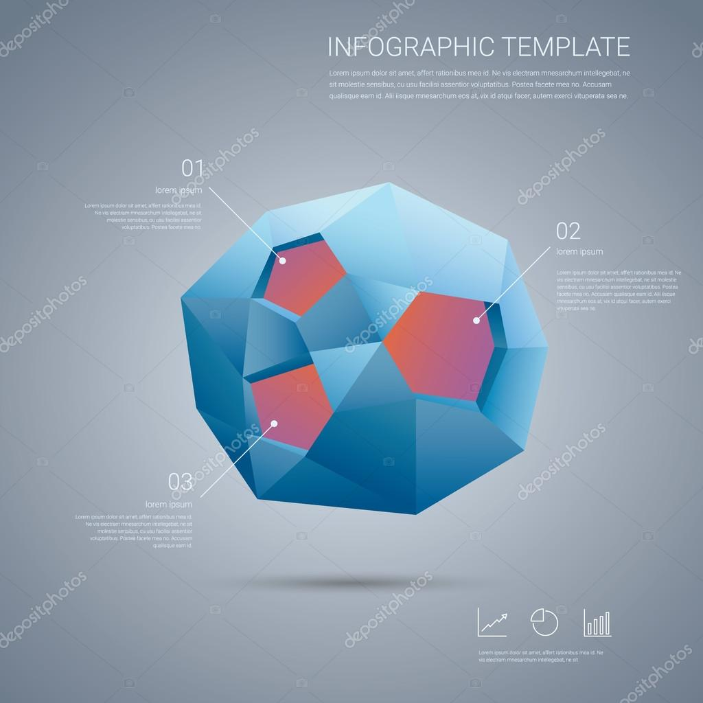 infographics template with low poly 3d shape on abstract background, Low Poly Business Presentation Template, Presentation templates
