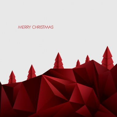 Christmas origami card vector template. Polygonal xmas trees on white background.