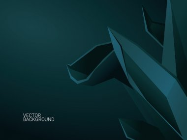 3d abstract vector background with polygonal shapes. Dark low poly wallpaper template and space for text.