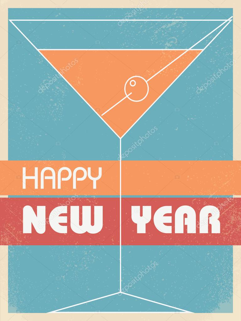 vintage new year card invitation vector background martini glass with retro colors and grunge texture