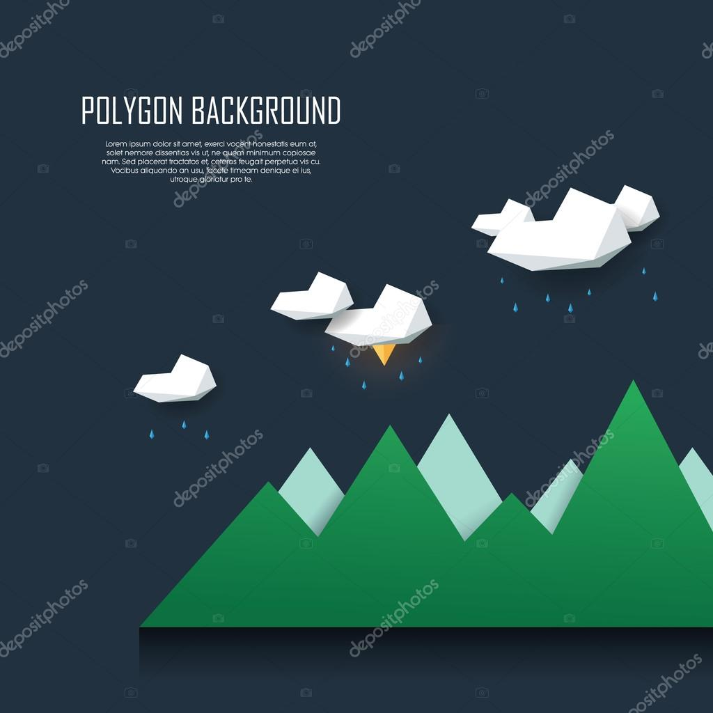 Low poly landscape scene with storm clouds, rain and lightning. Polygonal thunderstorm background in modern minimalistic style.