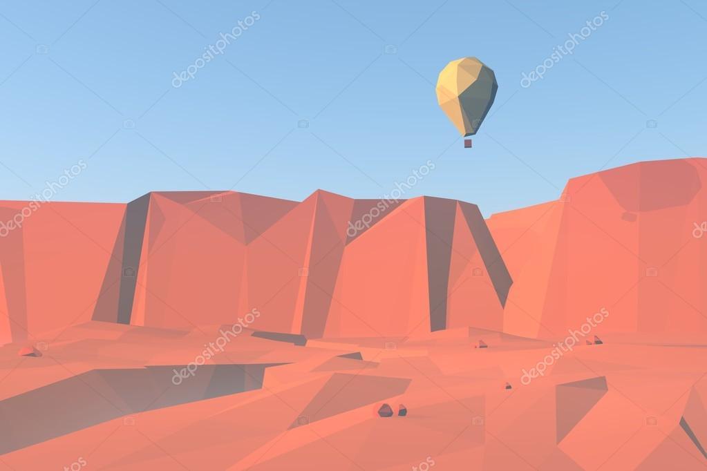 3d low poly landscape background with balloon flying over canyon and red rocks desert.
