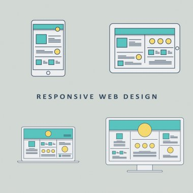 Responsive web design mockup template vector background. Smartphone, tablet, computer website layout.