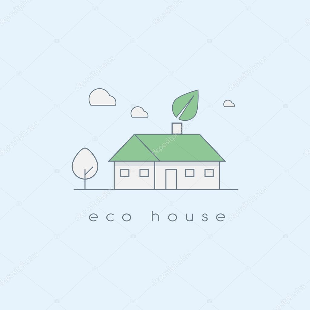 Ecologic house concept in modern line art design. Environmentally and nature friendly home.