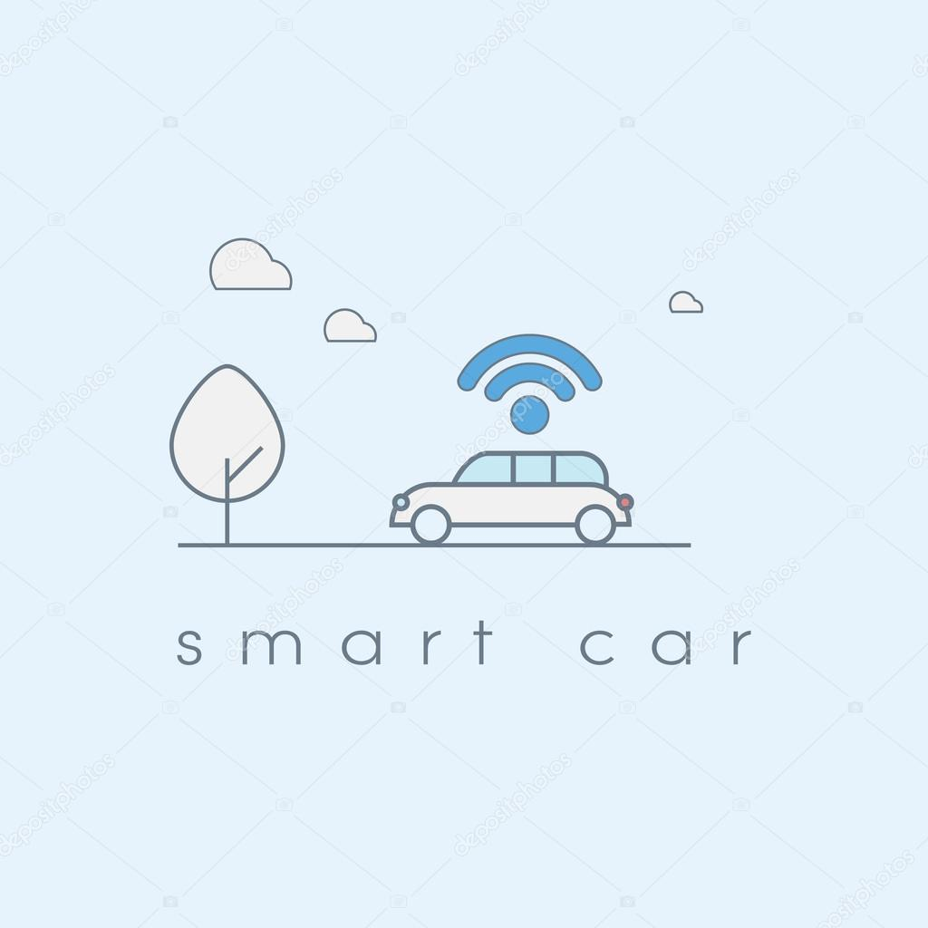 Smart car line art icon with wifi symbol. Future transportation technology concept.