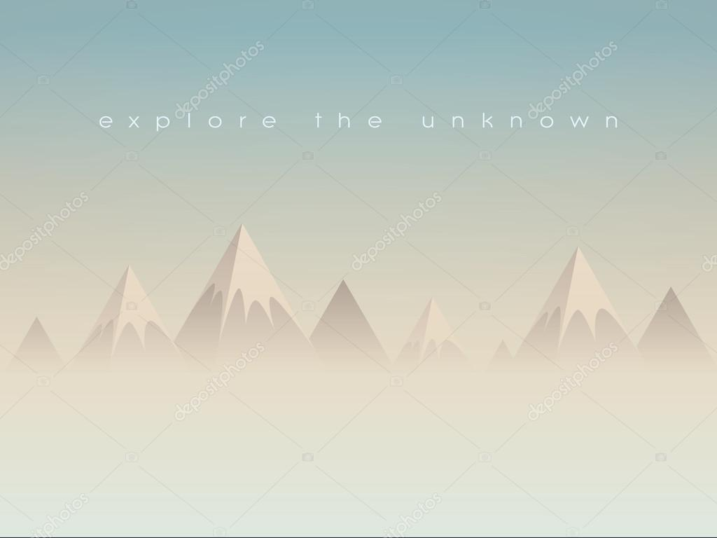 Simple low poly mountains landscape vector background. Polygonal triangles shape peaks above clouds or haze