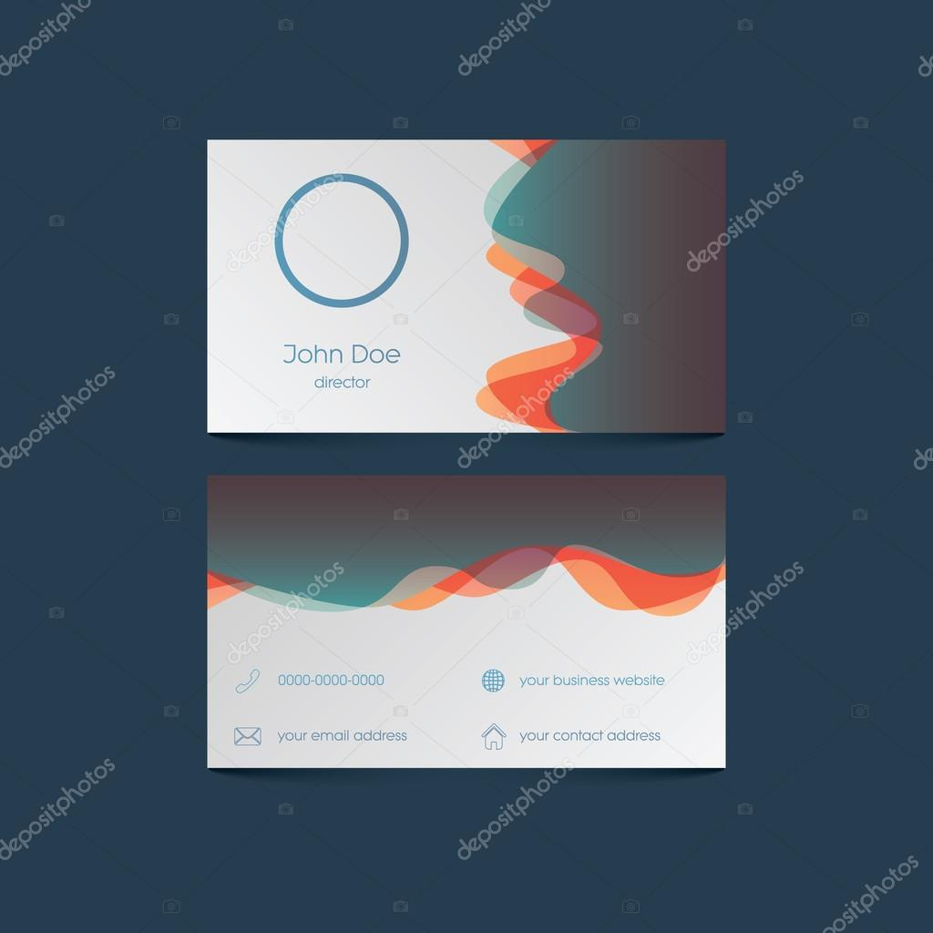 Elegant business card template with colorful background and overlay ...
