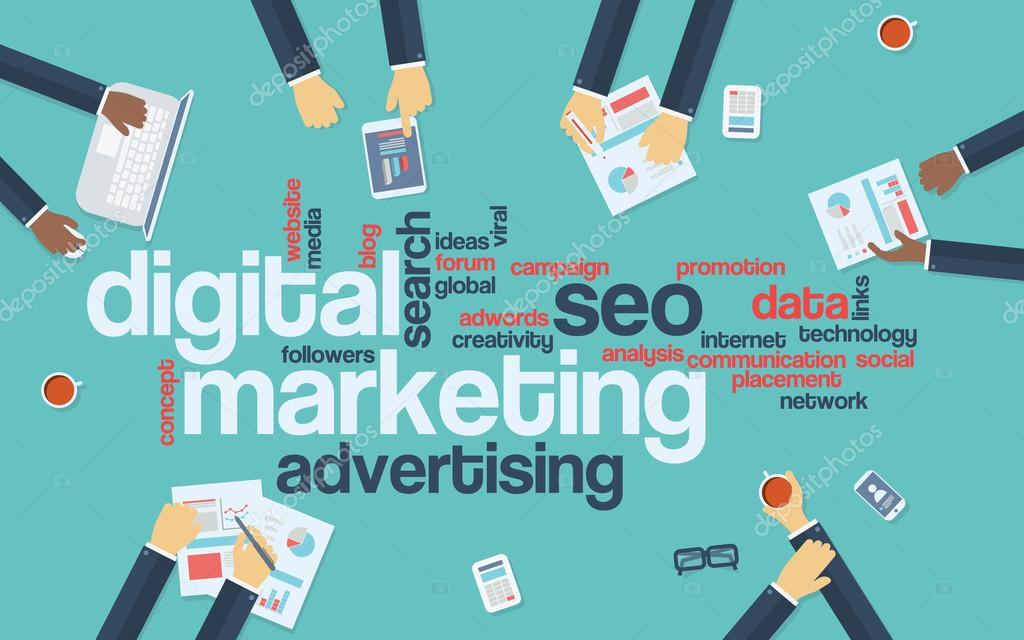 Digital marketing concept infographics vector background. Word cloud with online advertising keywords and managers analysing data preparing strategy or campaign.