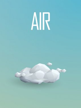 Air element symbol in modern low poly design. Polygonal cloud vector sign.