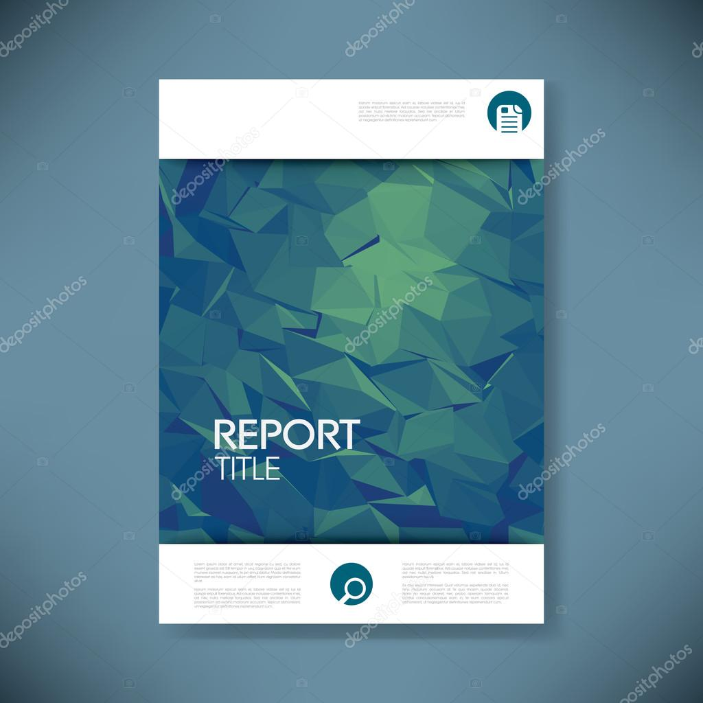 Report Cover Template With D Low Poly Vector Background Business - Presentation cover page template