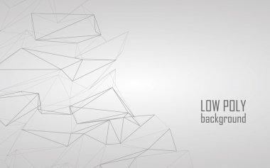 Low poly 3d abstract vector background. Line art design for sketchy technology look.