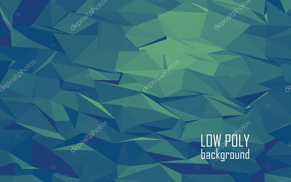 Low poly 3d abstract vector background. Green, blue color combination for sea underwater look.