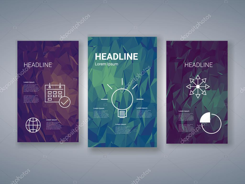 low poly colorful background set with business charts, graphs, Low Poly Business Presentation Template, Presentation templates