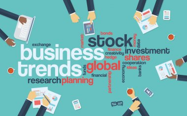 Business trends flat design infographics with word cloud. Global data analysis and research presentation.