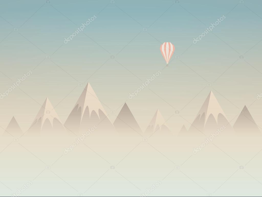 Low poly mountains landscape vector background with balloon flying above clouds or mist. Symbol of exploration, discovery and outdoor adventures.