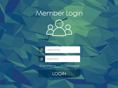 Login form menu with simple line icons. Low poly background. Website element for your web design.
