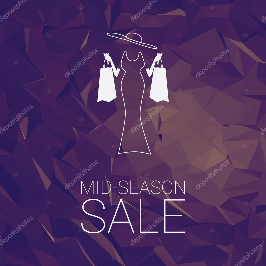 Sales banner mid season template with woman shopping fashion, space for promotional text. Sale poster tag special offers advertising.