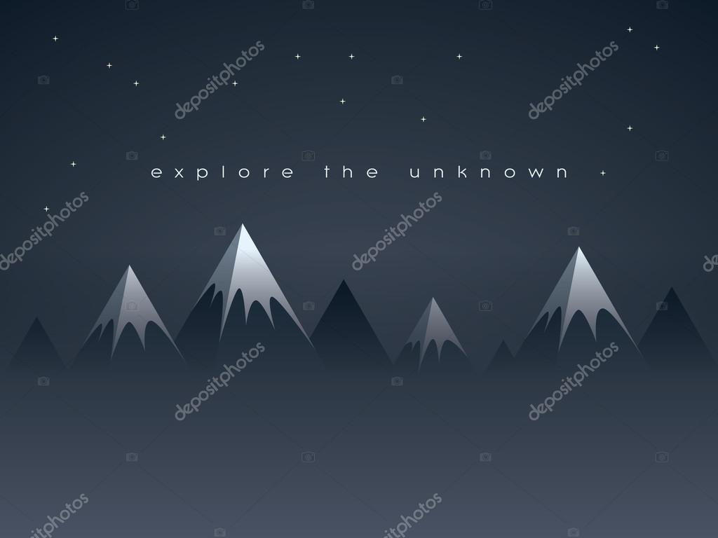Low poly mountains night landscape vector background with stars in the sky. Symbol of exploration, discovery and outdoor adventures.