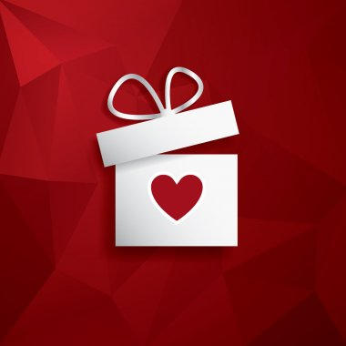 Valentines day concept illustration with gift box and heart symbol suitable for advertising and promotion. Red low poly vector background. Eps10 vector illustration clip art vector