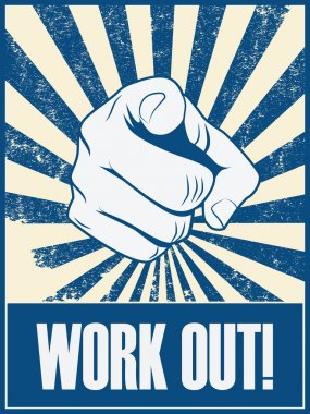 New year resolution motivation poster to work out and do exercise, fitness.