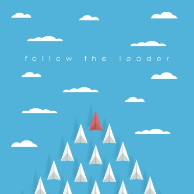 Business leadership concept with red paper plane leading white airplanes above clouds in the sky. Success, winner abstract illustration.